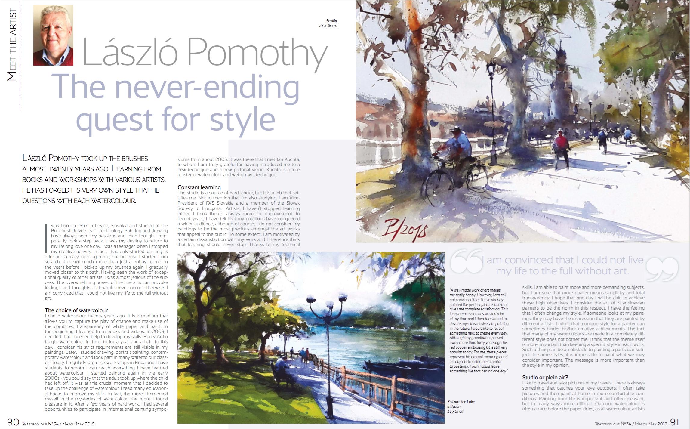 Interview in Art of Watercolor magazine   Pomothy László